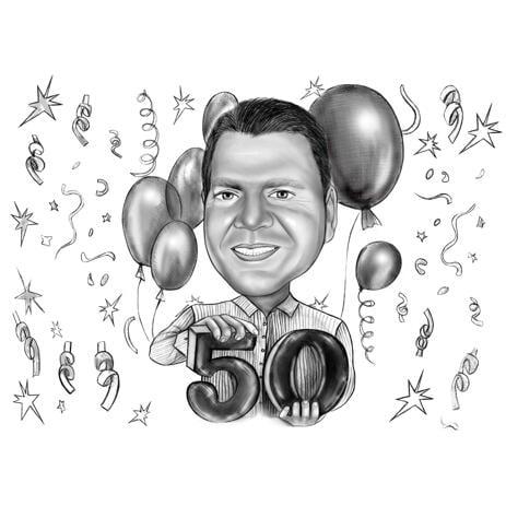 Cadeau de caricature d'anniversaire 50 ans en noir et blanc - example