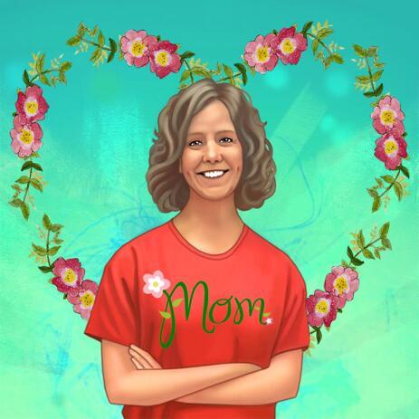 Реалистичный портретный рисунок по фото женщины в цветном цифровом стиле - example