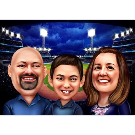 Family Baseball Fans Caricature from Photos with Stadium Background - example