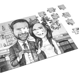 Bride and Groom Caricature on Puzzle
