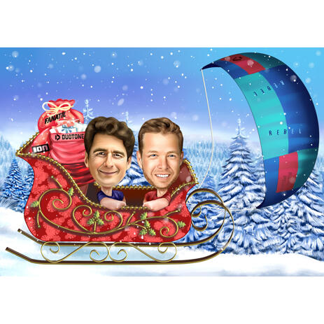 Two Persons Christmas Caricature in Santa's Sleight - example