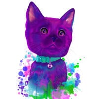 Brugerdefineret akvarel katportræt fra foto tegnet i nuancer af lilla