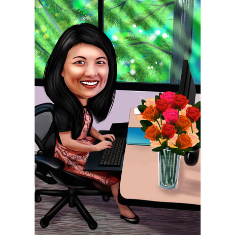 Happy Woman Manager Sits on Her Desk Caricature in Colored Full Body Style from Photos - example