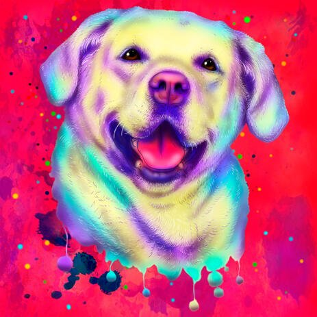 Pittura dell'acquerello di Labrador Retriever multicolore brillante con sfondo disegnato a mano da foto - example