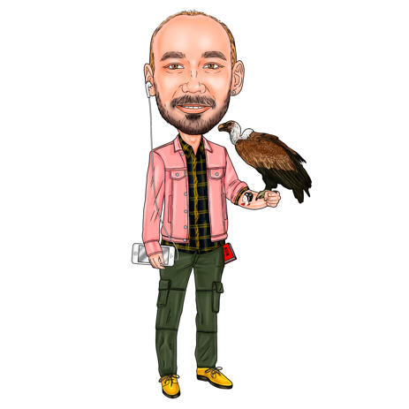 Person with Vulture Caricature Cartoon from Photos in Colored Style - example