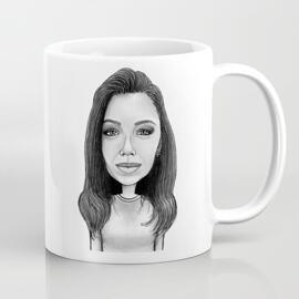 Durable Ceramic Mug: Custom-made Cartoon in Black and White Digital Style
