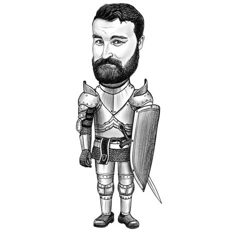 Knight Man Portrait Caricature in Pencil Style for Personalized Chevalier Gift - example