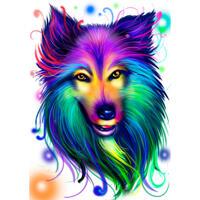 Glänzende Collie-Karikatur im Neon-Aquarell-Stil von den Fotos