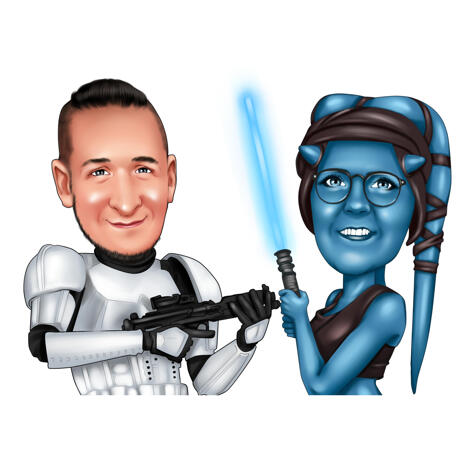 Customise Couple Caricature from Photos in Digital Color Style for Unique Star Wars Fans Gift - example
