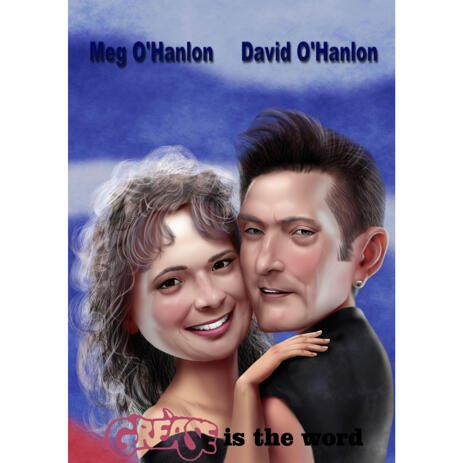 Couple Caricature in Color Style as Any Movie Poster Customized Cover Gift - example