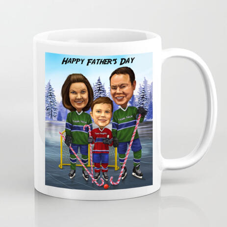 Print on Mug: Personalized Printed  Group Drawing of Family on Father's Day - example