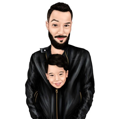 Dad and Son Cartoon Caricature from Photos for Father Gift - example