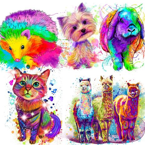 Rainbow Full Body Pet Portrait - example