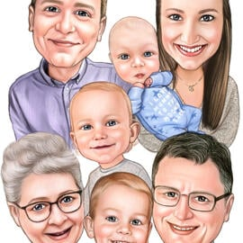 Large Family Caricature from Photos in Pencils Style