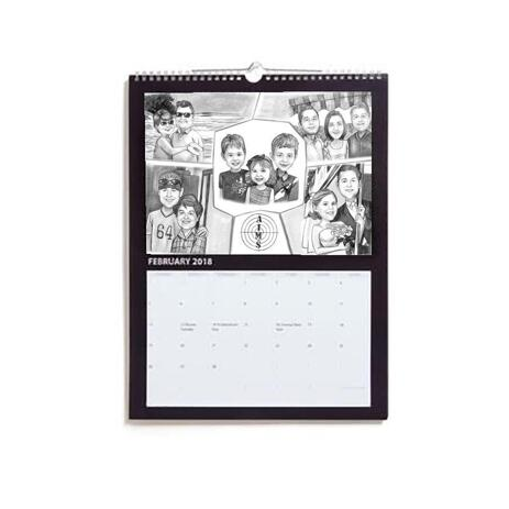 Family Collage Caricature as Calendar - example