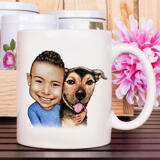 Kid and Dog Caricature as Mug