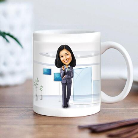 Office Caricature on cofee mug - example