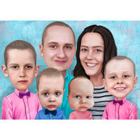 Thanksgiving Caricature - Couple with Kids Cartoon Portrait with One Color Background
