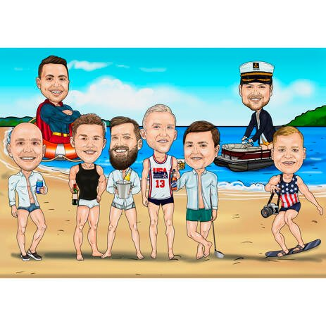 Bachelor Party Gift - Groomsmen Caricature from Photos on Beach - example