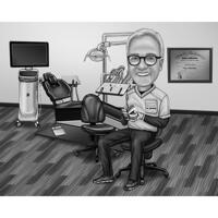 Dental Technologist Gift - Custom Black and White Caricature Portrait from Photo