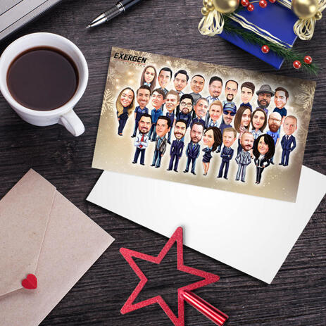 Custom Corporate Set of 10 Holiday Cards with Group Caricature in Color Style from Photos - example