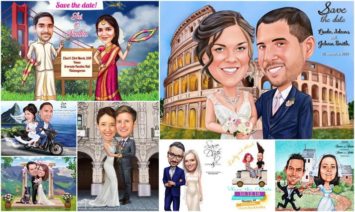 Save the Date Caricature large example