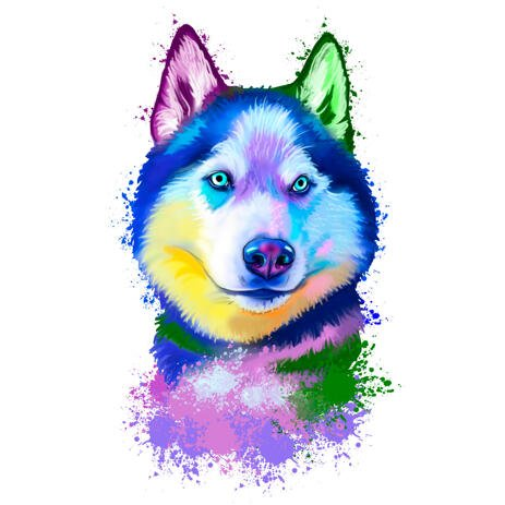 Rainbow Watercolor Husky Portrait Drawing from Photos - example