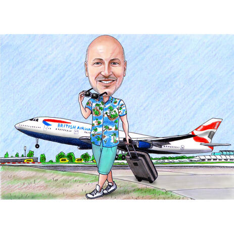 Person Caricature with Airplane in Background - example