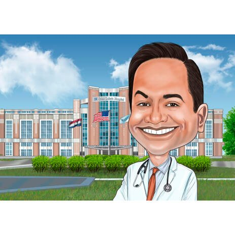 Doctor's Caricature with Hospital Background from Photos - example