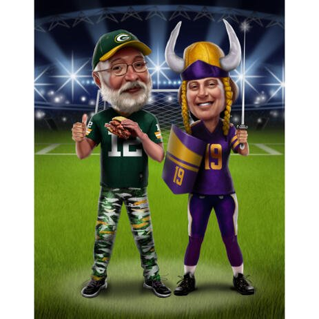 Two Persons Caricature in Sports Uniforms and Stadium Background - example