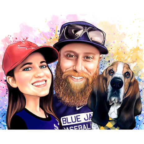 Graphic Hand Drawn Watercolor Couple with Pet Picture with Own Natural Colors - example