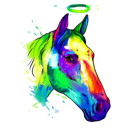 Horse Memorial Portrait in Rainbow Watercolors Hand Drawn from Photos - example