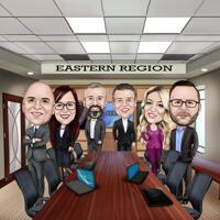 Цветная карикатура сотрудников фирмы в полный рост нарисованная для подарка
