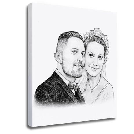 Pencils Portrait of Bride and Groom as Canvas Print - example