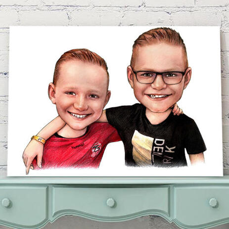 Friends Kids Caricature on Canvas - example