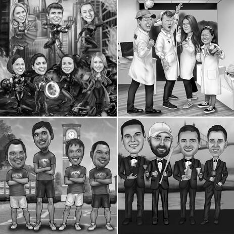 Full Body Group Caricature Portrait in Black and White Style with Custom Background - example