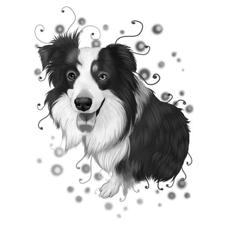 Border Collie Portrait Cartoon from Photos in Black and White Watercolor Style - example