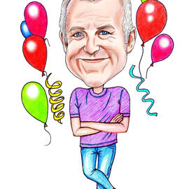 Funny Birthday Caricature from Photos for Birthday Gift