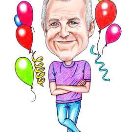 Sjov fødselsdagskarikatur fra fotos til fødselsdagsgave