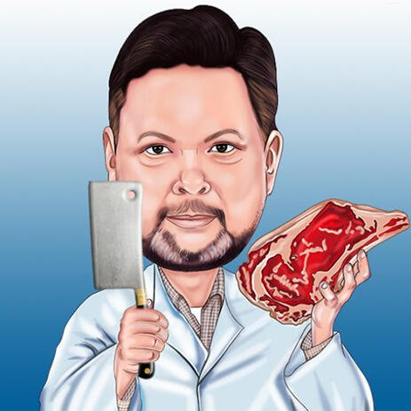 Butcher with Knife and Steak Cartoon from Photo on One Color Background - example