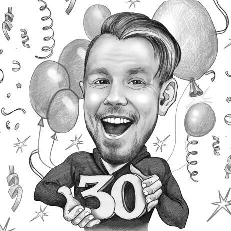 黒と白の鉛筆のスタイルの誕生日パーティスケッチの描画 - example