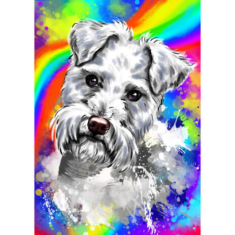 Beautiful Silver Fox Terrier Portrait Cartoon from Photo with Abstract Rainbow Background - example