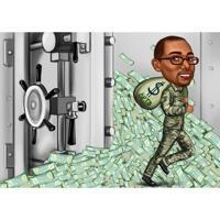 Карикатура человека миллиардера в полный рост нарисованная с фоном с фотографии в стиле комиксов
