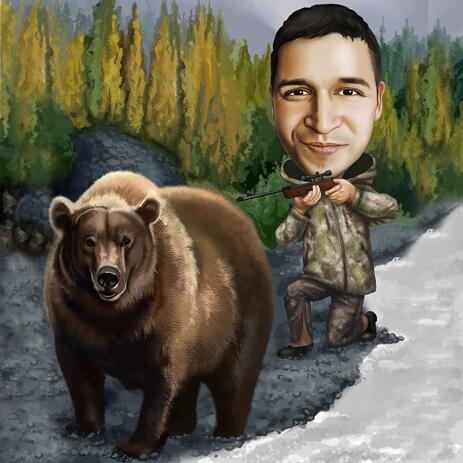 Hunter with Bear Portrait from Photos with Background - example