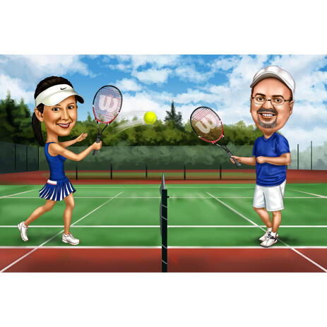 Tennis Players Couple Caricature in Colored Style with Background - example