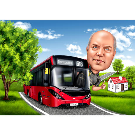 Bus Driver Caricature from Photos: Custom Gift - example