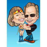 Superhero Couple Caricature in Funny Exaggerated Style with One Color Background