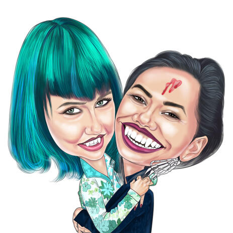 Couple Halloween Caricature from Photos in Colored Style - example