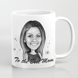 Photo Print on Mug: Custom Cartoon Drawing in Mother's Day Theme
