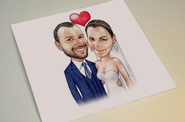 Printed Bride and Groom Caricature on Poster